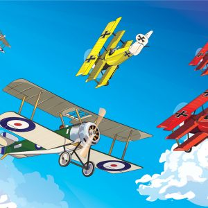 Reljefne 3D tapete za deciju sobu Avioni iz prvog svetskog rata