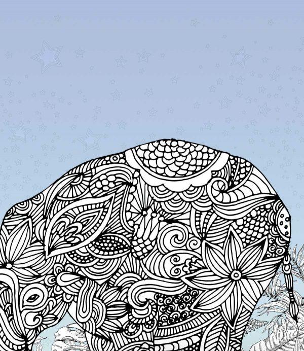 slon u sobi reljefna tapeta za zid