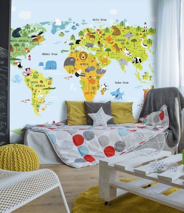 3d tapeta za deciju sobu mapa sveta