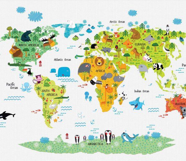 karta sveta tapeta za deciju sobu