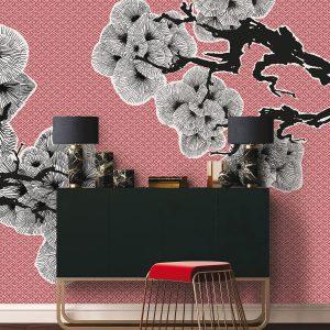 3d fototapete reljefne japanska trešnja