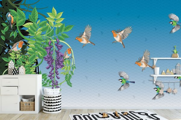 fototapet glicinija sa pticama