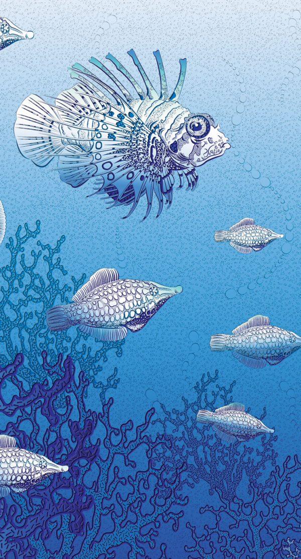 koralna riba reljefne tapete fototapete za dnevnu sobu