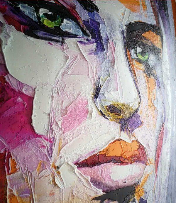tapeta za zid ulje na platnu lice devojke