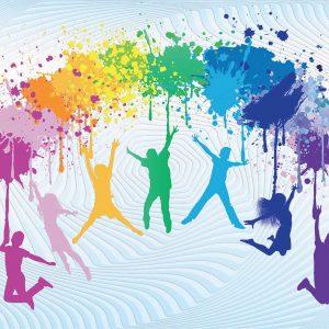 Deca u plesnom skoku u duginim bojama tapeta za zid