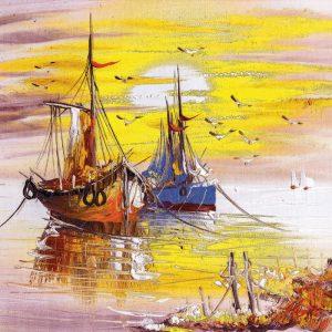 Čamci na obali ulje na platnu tapeta za zid
