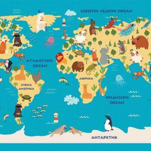 reljefna karta sveta za decu tapeta za deciju sobu