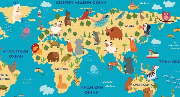 reljefna karta sveta za deciju sobu evroazija